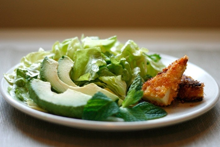 Spicy, Crisp Tofu on Mint-Avocado Salad | Well Vegan