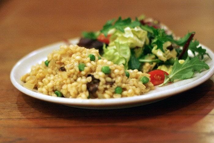 Saffron and Mushroom Barley Risotto - Well VeganWell Vegan