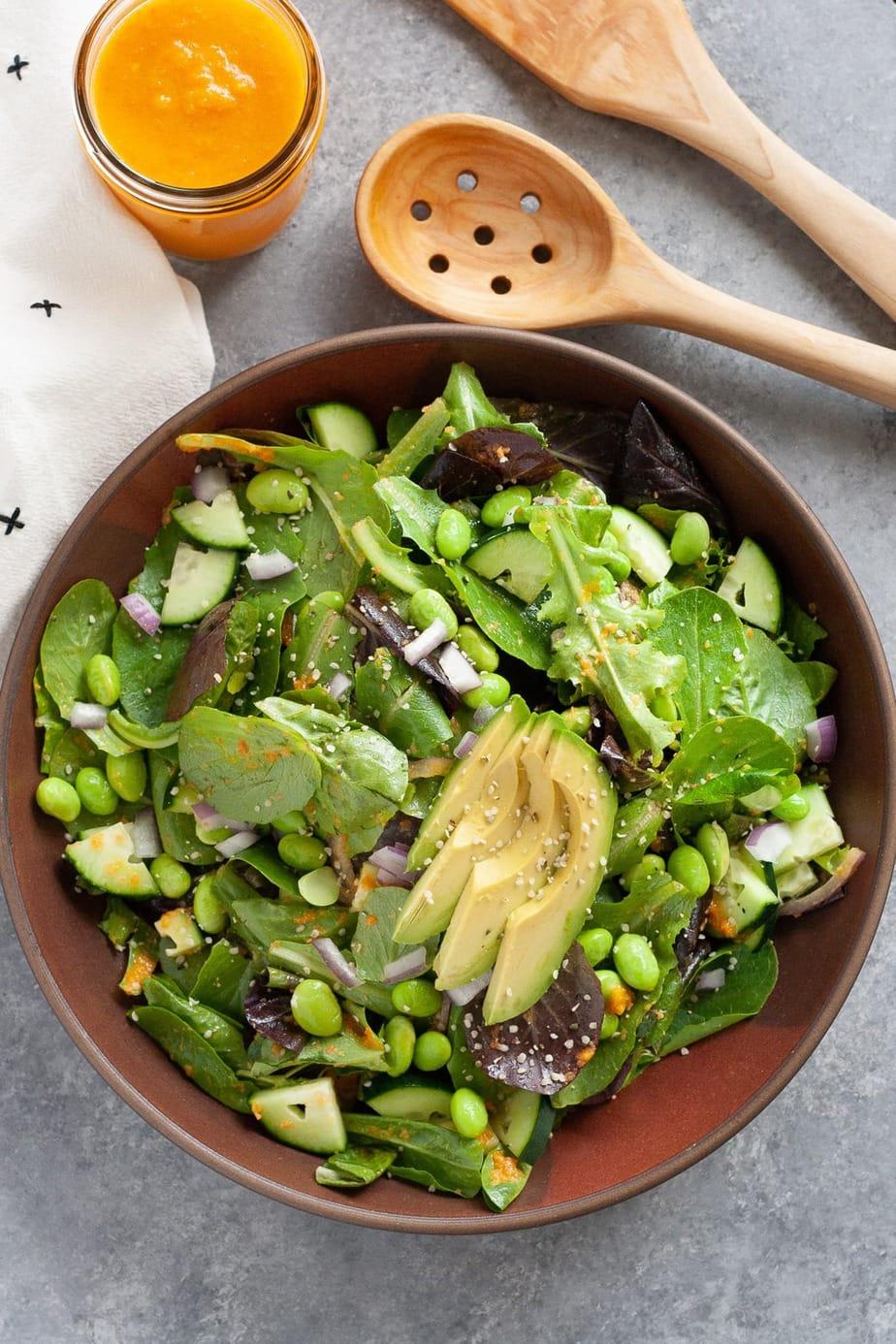 Avocado Salad With Carrot Ginger Dressing Recipe Well Vegan