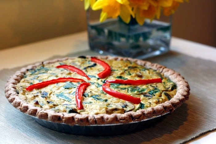 Spinach and Mushroom Quiche - Well Vegan