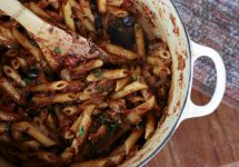 Eggplant, Caramelized Onion and Tomato Pasta