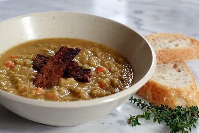 Split Pea Soup with Tempeh Bacon and Chipotle Cream - Well ...
