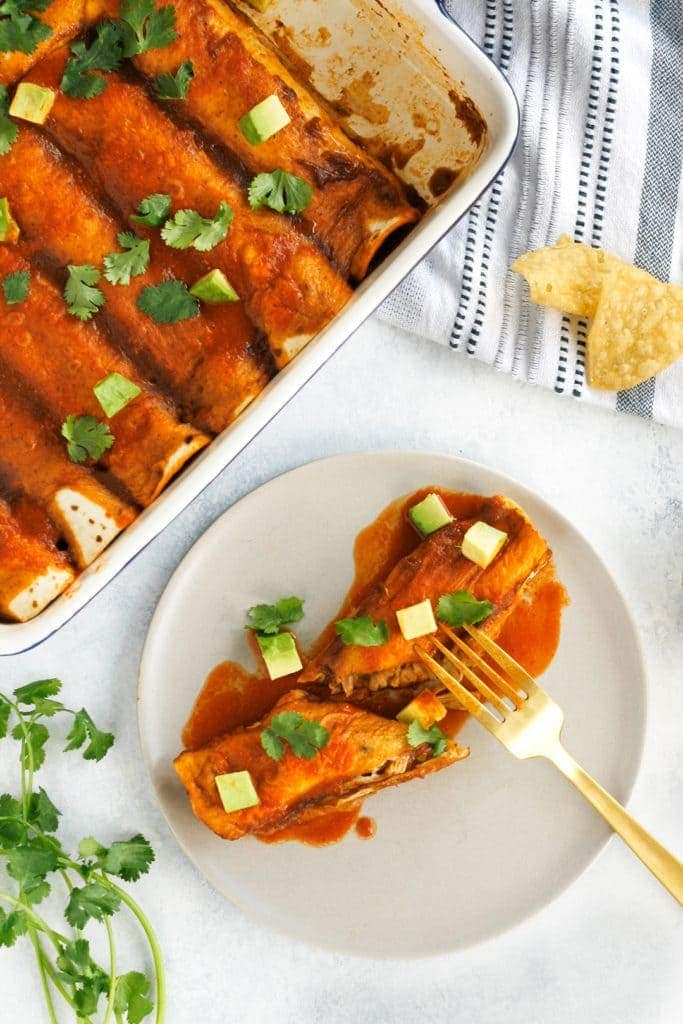 Vegan Enchiladas With Jackfruit And Black Beans Recipe Well Vegan