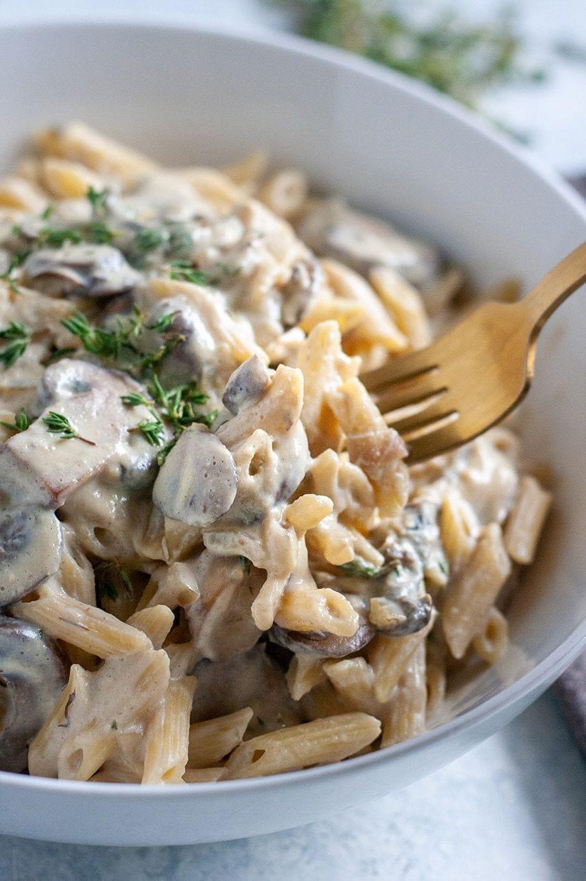 Creamy Tofu Garlic Mushroom Pasta Recipe Well Vegan